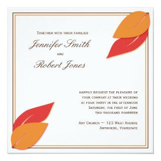 Gold and Rust Fall Leaf Wedding Invitation