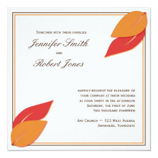 Gold and Rust Fall Leaf Wedding Invitation