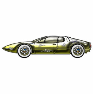 Gold and Siler Sports Car Standing Photo Sculpture