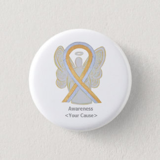 Gold and Silver Awareness Ribbon Angel Button Pin