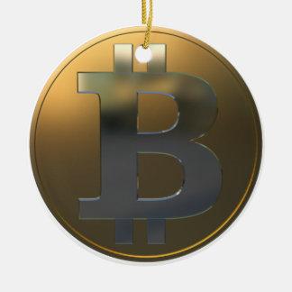 Gold and Silver Bitcoin Ceramic Ornament
