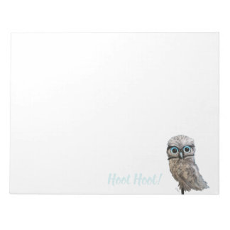 Gold and Silver Burrowing Owl Decor Notepad