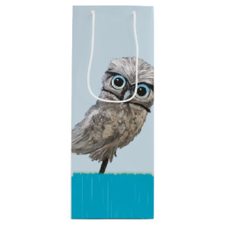 Gold and Silver Burrowing Owl Decor Wine Gift Bag