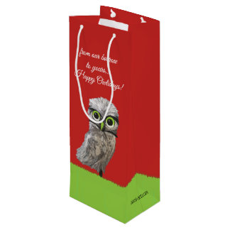 Gold and Silver Burrowing Owl Holidays Wine Gift Bag
