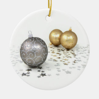 Gold and Silver Christmas Ornaments and Stars