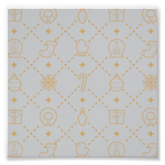 Gold and Silver Christmas Symbols Seamless Pattern Photo Print