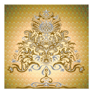 Gold and silver Christmas tree invitation