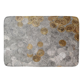 Gold and Silver Coins Bath Mats