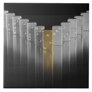 Gold and silver dominoes large square tile