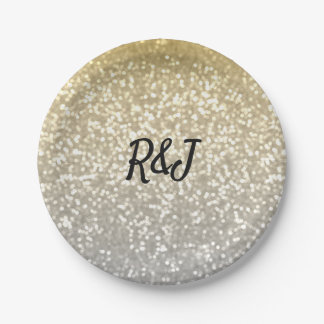 Gold and Silver glitter crystals elegant wedding Paper Plate