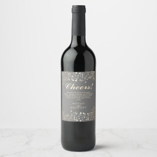 Gold and Silver Grey Baby's Breath Elegant Wine Label