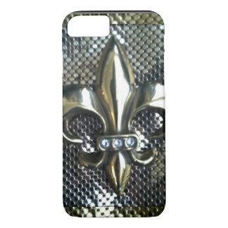 GOLD AND SILVER MESH FLEUR-DE-LIS iPhone 7 CASE