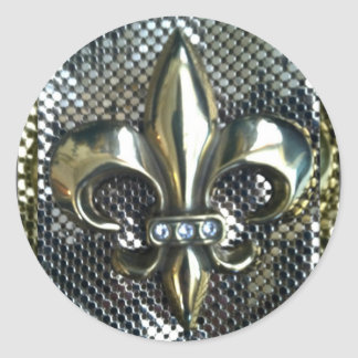 GOLD AND SILVER MESH FLEUR DE LIS PRINT ROUND STICKER