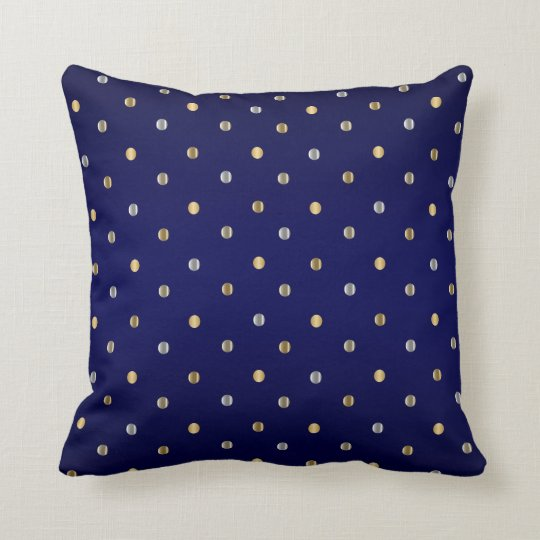Gold and Silver Polka Dots on Navy Blue Throw Pillow