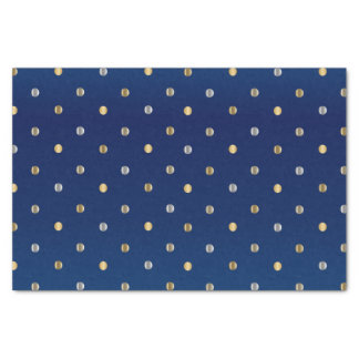Gold and Silver Polka Dots on Navy Blue Tissue Paper