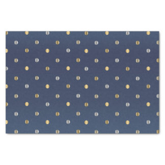 Gold and Silver Polka Dots on Slate Blue Tissue Paper