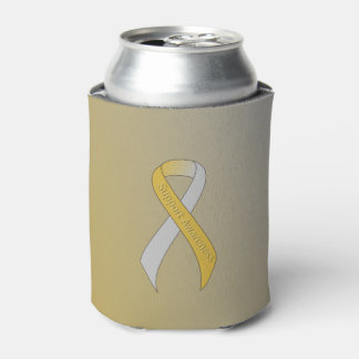 Gold and Silver Ribbon Support Awareness Can Cooler