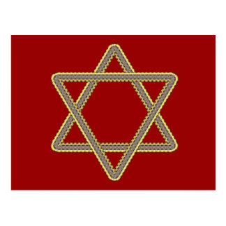 Gold and Silver Star of David for Bar Bat Mitzvah Postcard