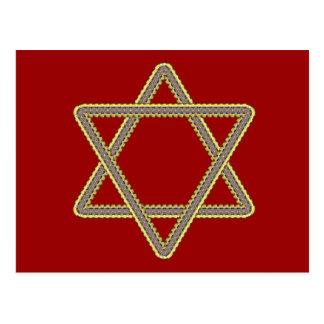 Gold and Silver Star of David for Bar Bat Mitzvah Postcard