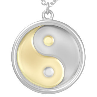 Gold and Silver Yin and Yang Round Pendant Necklace