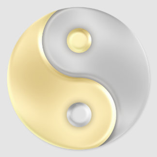 Gold and Silver Yin and Yang Round Sticker