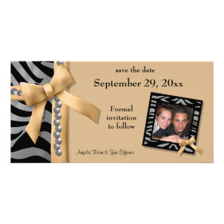 Gold And Silver Zebra Gems Save The Date Card Customized Photo Card