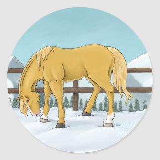 Gold and Snow Classic Round Sticker
