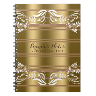 Gold And Tan Stripes With White Floral Lace Notebook