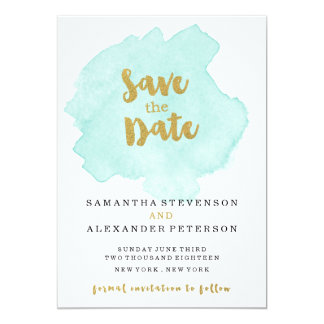 Gold and Teal Blush Save the Date 13 Cm X 18 Cm Invitation Card