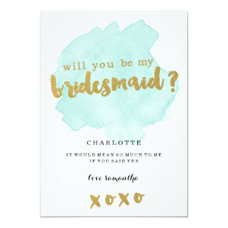 Gold and Teal Blush Will You Be My Bridesmaid? Card