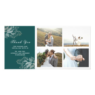 Gold and Teal Floral Modern Wedding Thank You Photo Card