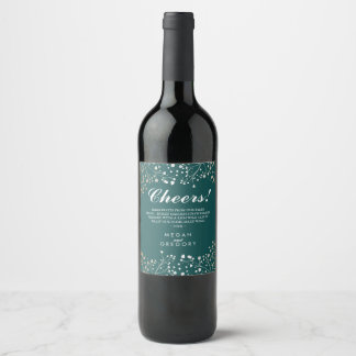 Gold and Teal Green Baby's Breath Elegant Wine Label