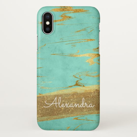 Gold and Teal Marble with Gold Foil and Glitter iPhone X Case