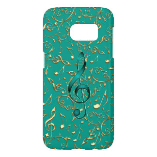 Gold and Teal Music Notes and Clefs Galaxy S7 Case