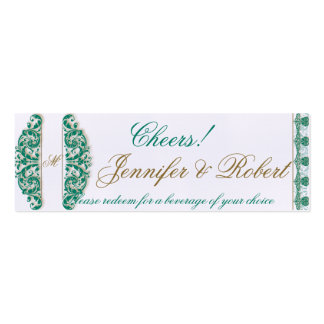 Gold and Teal Vintage Floral Scroll Drink Ticket Business Card Template