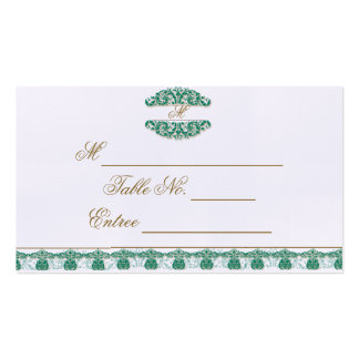 Gold and Teal Vintage Floral Scroll Place Card Business Card