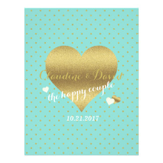 Gold And Tiffany Teal Blue Polka Dot Wedding Flyer