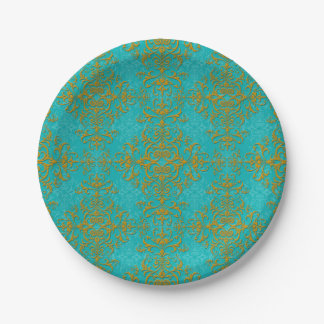 Gold and Turquoise Damask Style Pattern 7 Inch Paper Plate