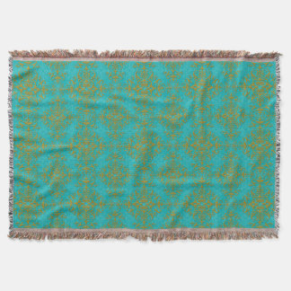 Gold and Turquoise Damask Style Pattern Throw Blanket