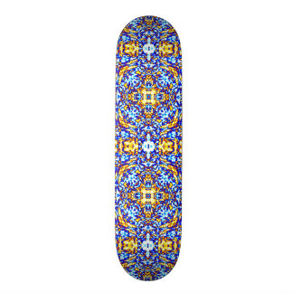 Gold and Water Mandala Skateboard Deck