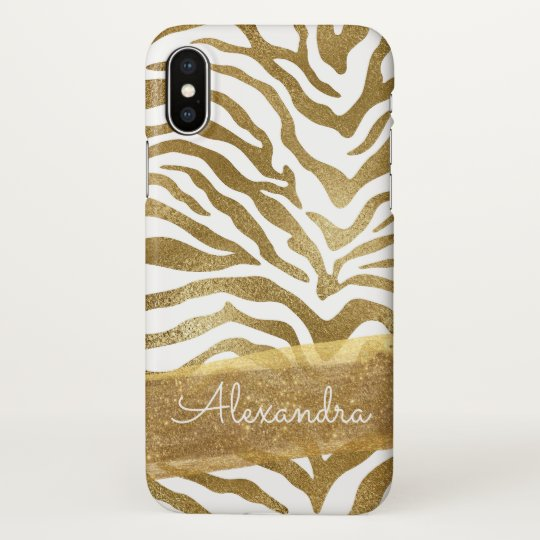 Gold and White Animal Print with Gold Glitter Case