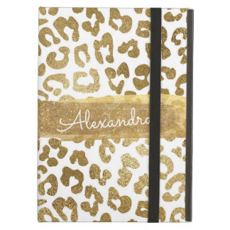 Gold and White Animal Print with Gold Glitter iPad Air Case