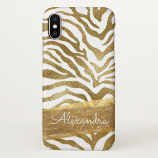 Gold and White Animal Print with Gold Glitter iPhone X Case