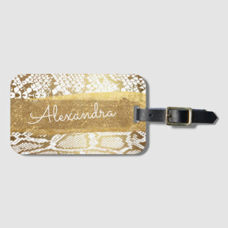 Gold and White Animal Print with Gold Glitter Luggage Tag