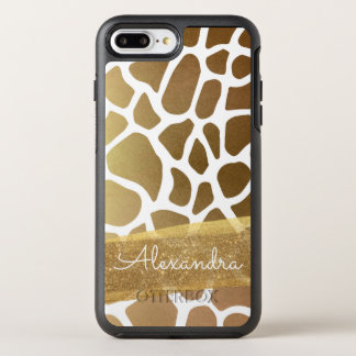 Gold and White Animal Print with Gold Glitter OtterBox Symmetry iPhone 8 Plus/7 Plus Case
