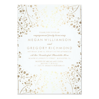Gold and White Baby's Breath Engagement Party Card