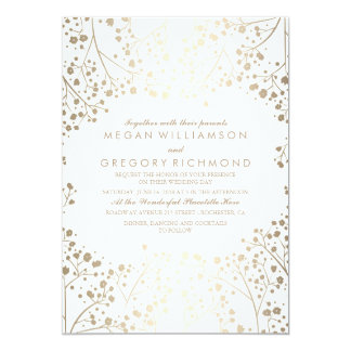 Gold and White Baby's Breath Wedding 13 Cm X 18 Cm Invitation Card