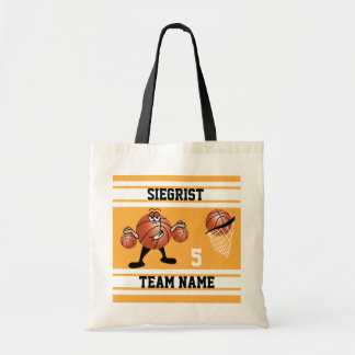 Gold and White Basketball | Personalize Budget Tote Bag