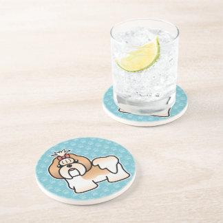 Gold And White Cartoon Shih Tzu Beverage Coasters