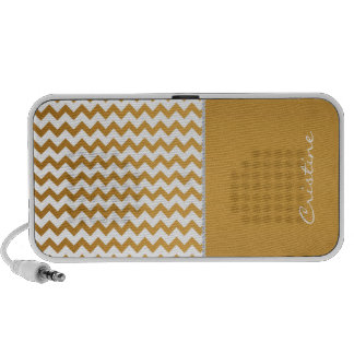 GOLD AND WHITE CHEVRON PERSONALIZED BY NAME iPod SPEAKERS